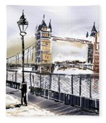 Fine Art Drawing The Tower Bridge In London Uk Fleece Blanket