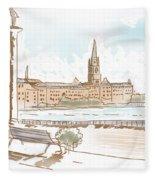 Fine Art Landscape Sketch Of Stockholm Sweden  Fleece Blanket