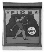 Fire Eater In Black And White Fleece Blanket