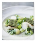 Fish Fillet With Herb Topping And Vegetables Fleece Blanket