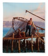 Fishermen Bringing In The Catch Fleece Blanket