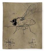 Fishing Fly Patent Fleece Blanket