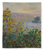 Flower Beds At Vetheuil Fleece Blanket