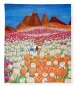 Flowers And Fields Alive With Thy Joy Fleece Blanket
