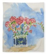 Flowers In A Vase Fleece Blanket