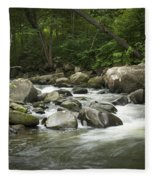 Flowing Stream In Vermont Fleece Blanket