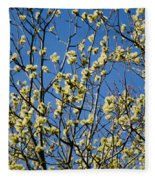 Fluffy Catkins At At Tree Against Blue Sky Fleece Blanket