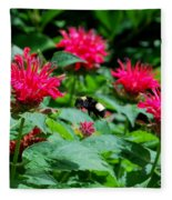 Flying Bee With Bee Balm Flowers Fleece Blanket