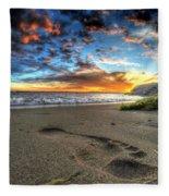 Foot Print In The Sand Fleece Blanket