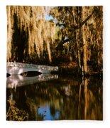Footbridge Over Swamp, Magnolia Fleece Blanket