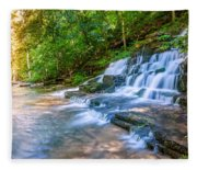 Forest Stream And Waterfall Fleece Blanket
