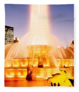 Fountain Lit Up At Dusk, Buckingham Fleece Blanket