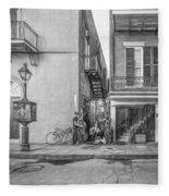 French Quarter Trio - Paint Bw Fleece Blanket