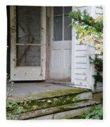 Front Door Of Abandoned House Fleece Blanket