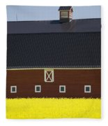 Front Of A Red Barn In A Flowering Fleece Blanket