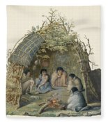 Fuegans In Their Hut, 18th Century Fleece Blanket