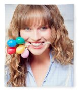 Fun Party Girl With Balloons In Mouth Fleece Blanket