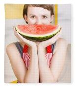 Funny Woman With Juicy Fruit Smile Fleece Blanket