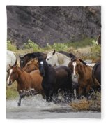 Gaucho With Herd Of Horses Fleece Blanket