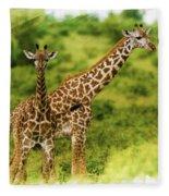 Mom Giraffe And Little Joey Fleece Blanket