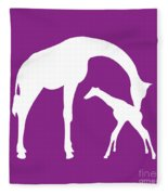 Giraffe In Purple And White Fleece Blanket