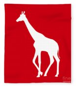 Giraffe In Red And White Fleece Blanket