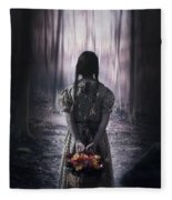 Girl In The Woods Fleece Blanket