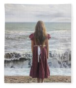 Girl On Beach Fleece Blanket