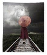 Girl On Tracks Fleece Blanket