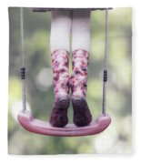 Girl Swinging Fleece Blanket
