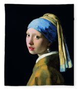 Girl With A Pearl Earring Fleece Blanket