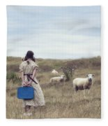 Girl With Sheeps Fleece Blanket