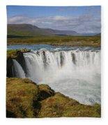Godafoss Waterfall Fleece Blanket