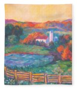 Golden Farm Scene Fleece Blanket
