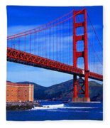 Golden Gate Bridge Panoramic View Fleece Blanket
