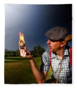 Golf Ball Flames Fleece Blanket