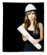 Graduate Engineer Holding Construction Design Plan Fleece Blanket