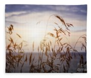 Grass At Sunset Fleece Blanket