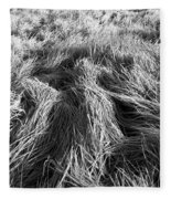 Grass In Black And White Fleece Blanket