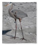 Great Blue Heron On The Beach Fleece Blanket