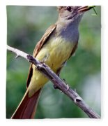 Great Crested Flycatcher With Captured Fleece Blanket