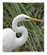 Great Egret Close Up Fleece Blanket