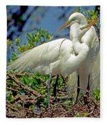 Great Egret Fleece Blanket