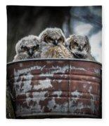 Great Horned Owl Chicks Fleece Blanket