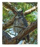 Great Horned Owl Fleece Blanket