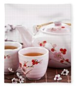 Green Tea Set Fleece Blanket