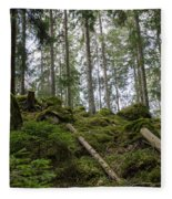 Green Untouched Forest Fleece Blanket