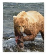 Grizzly Bear Salmon Fishing Fleece Blanket