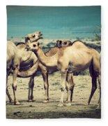 Group Of Camels In Africa Fleece Blanket