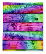 Grunge Colorful Wood Planks Background Fleece Blanket